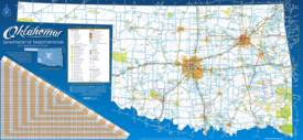 Large detailed tourist map of Oklahoma with cities and towns