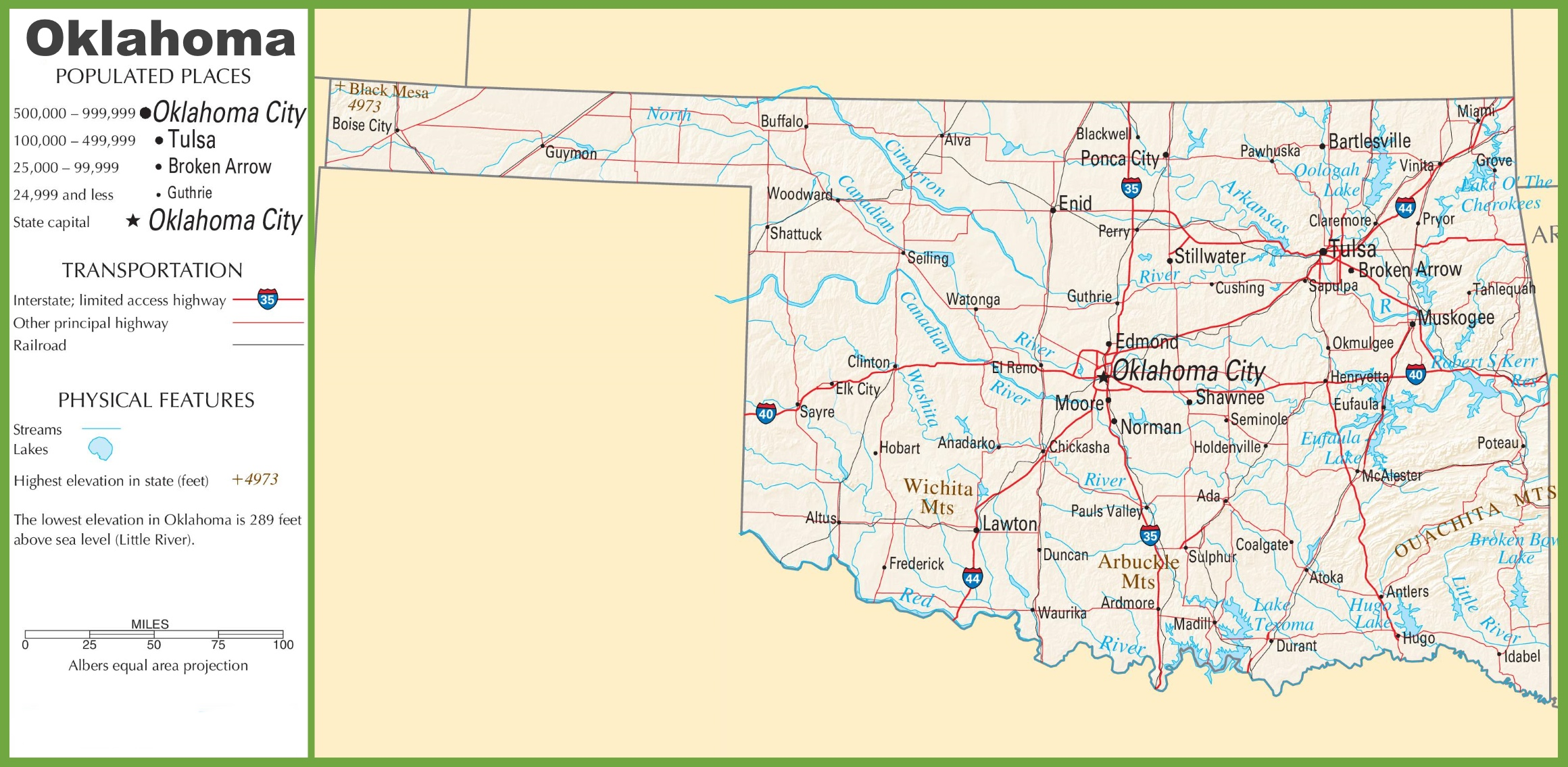 Oklahoma Highway Map - Oklahoma highways map