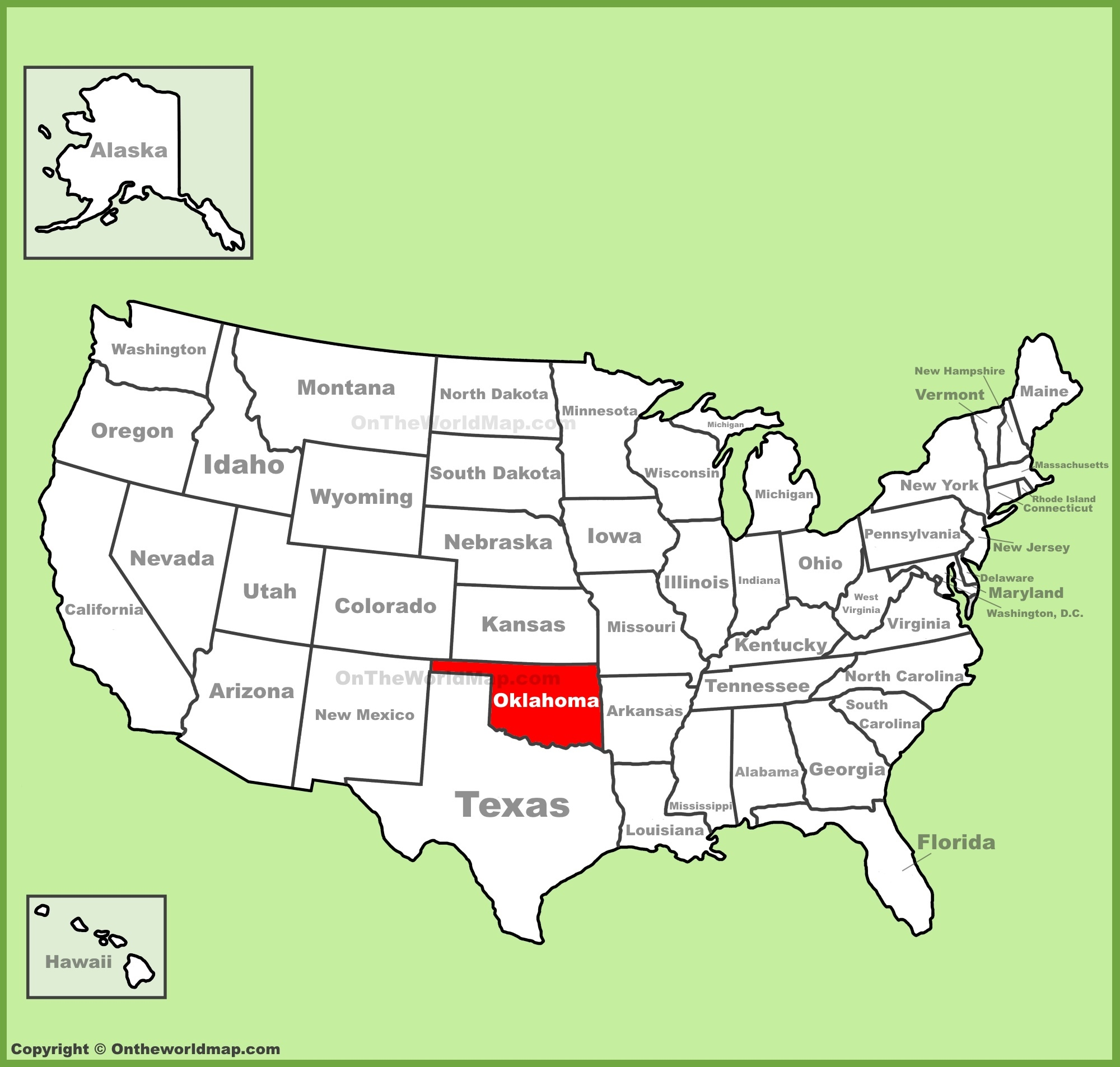 Oklahoma On Map Oklahoma location on the U.S. Map