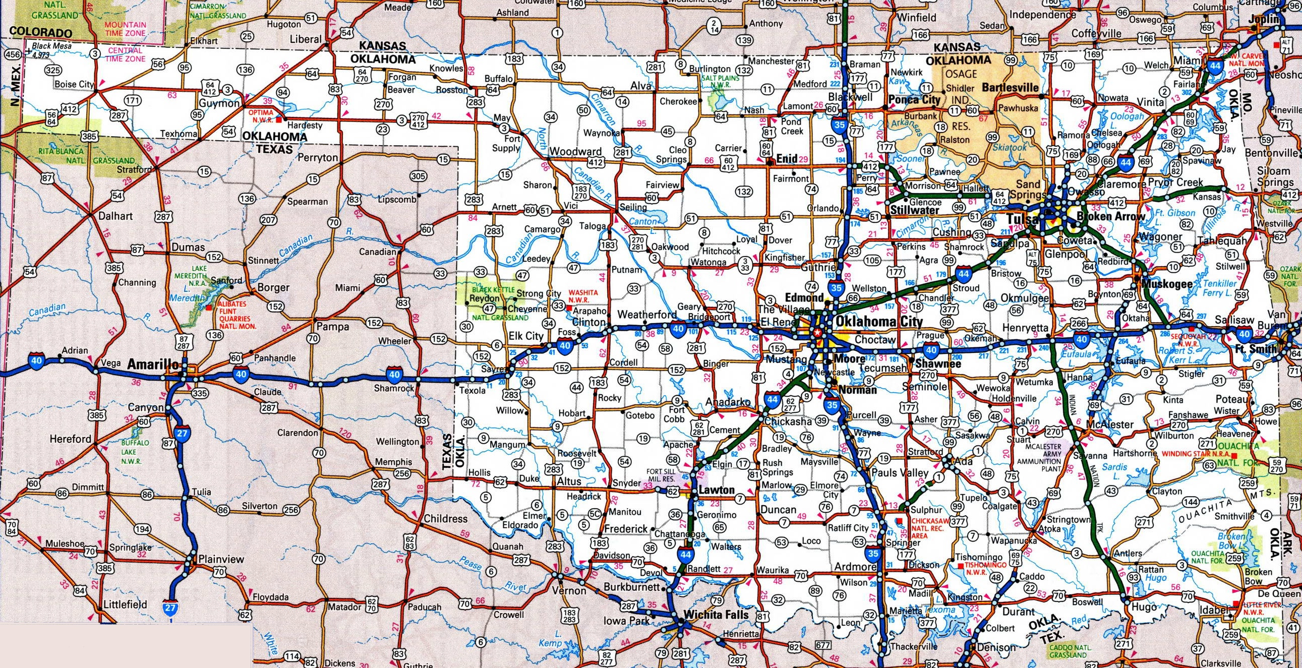 Oklahoma Road Map - Oklahoma highways map