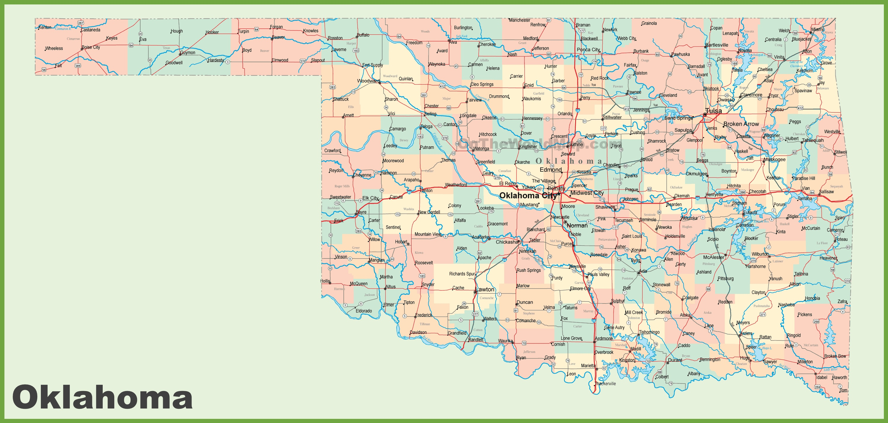 Oklahoma Map With Cities Road map of Oklahoma with cities
