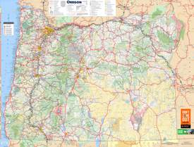Large detailed tourist map of Oregon with cities and towns