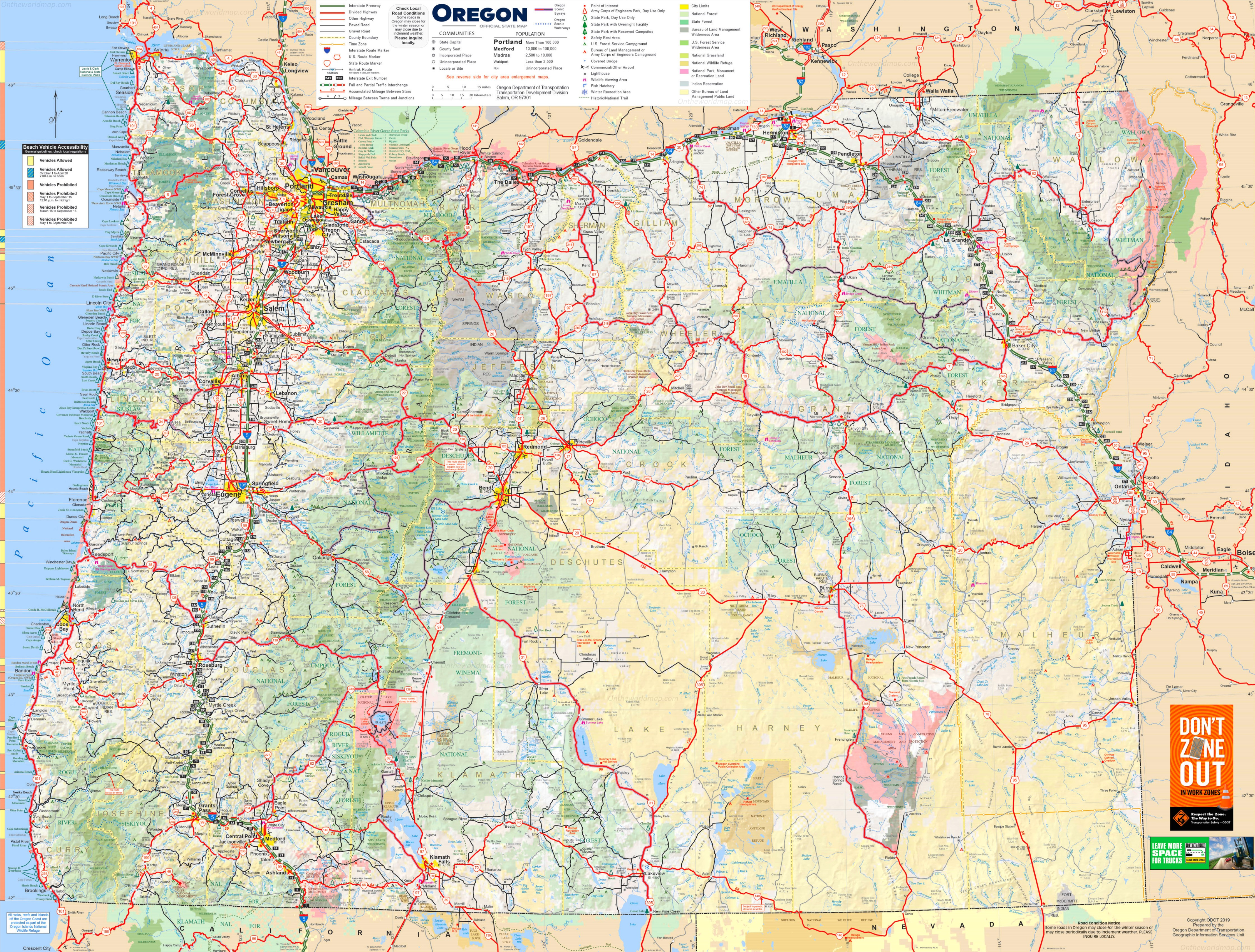 Detailed Map Of Oregon Large detailed tourist map of Oregon with cities and towns