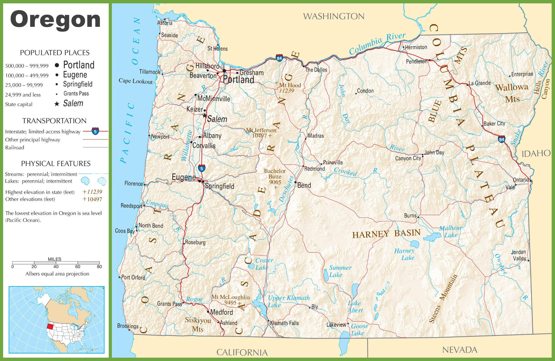 Oregon Highway Map - Oregon in the usa map