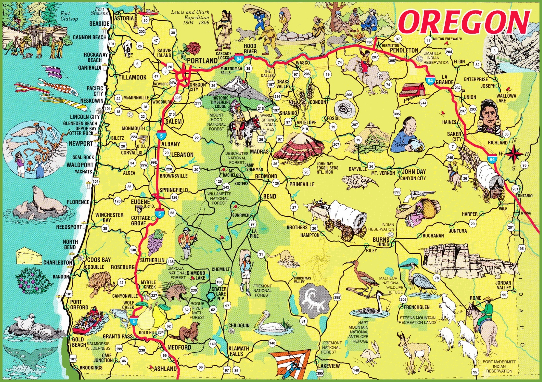 Ontheworldmapcomusastateoregonpictorialtrave - Oregon in the usa map