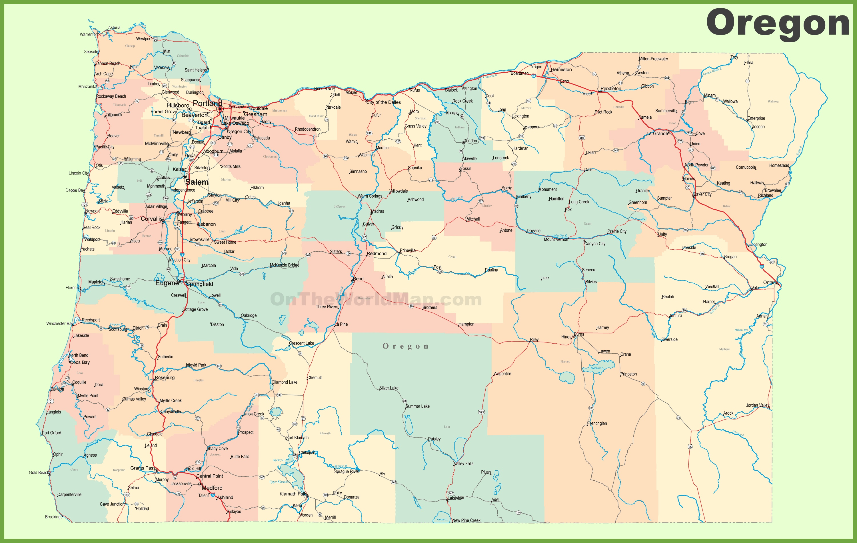 Road Map Of Oregon With Cities - Usa road atlas