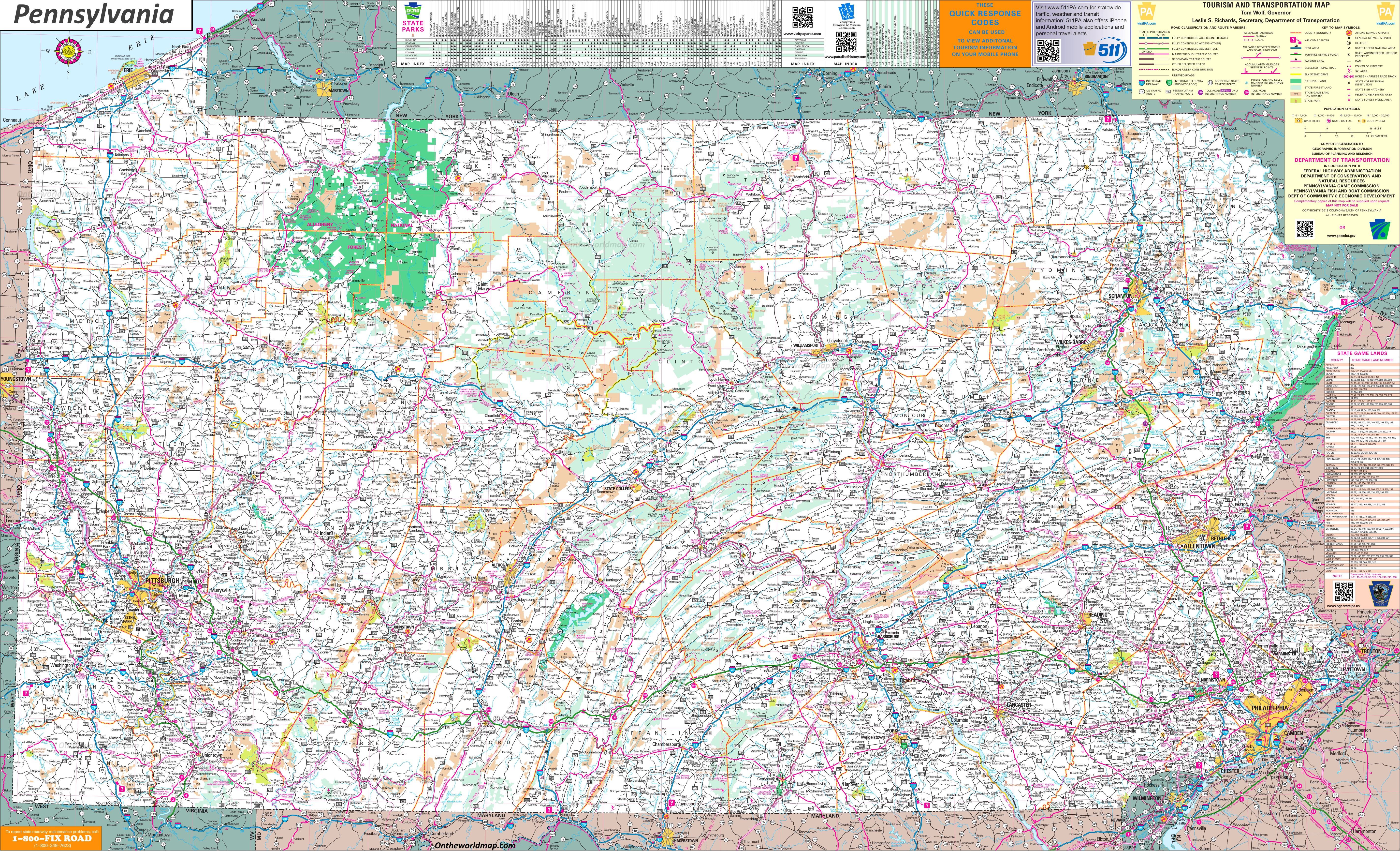 Pennsylvania Map With Cities And Towns Large detailed tourist map of Pennsylvania with cities and towns Pennsylvania Map With Cities And Towns