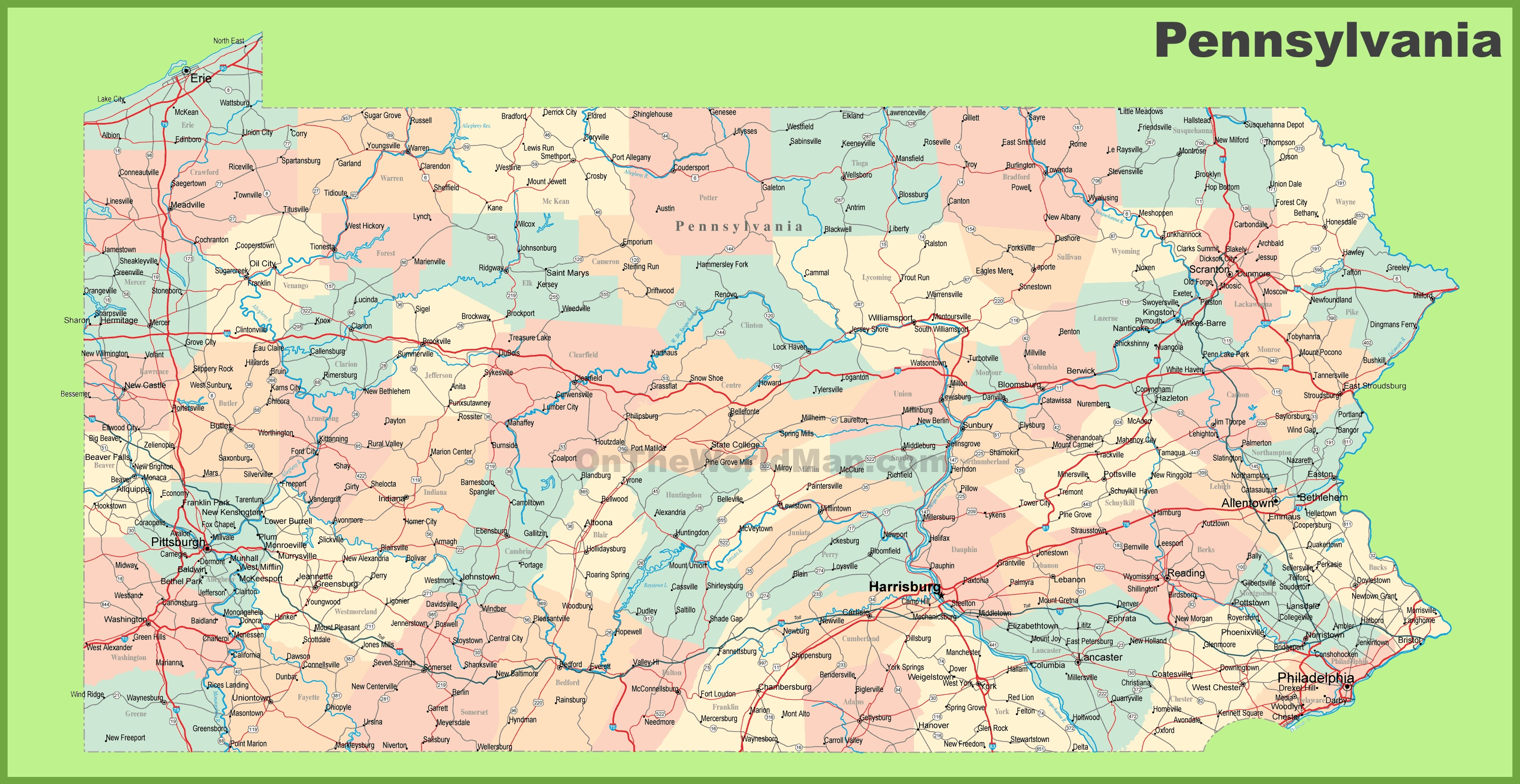 Pa State Map With Counties And Cities.Road Map Of Pennsylvania With Cities