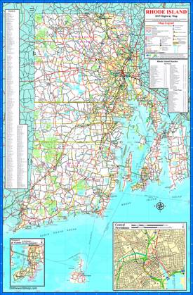 Large detailed tourist map of Rhode Island with cities and towns