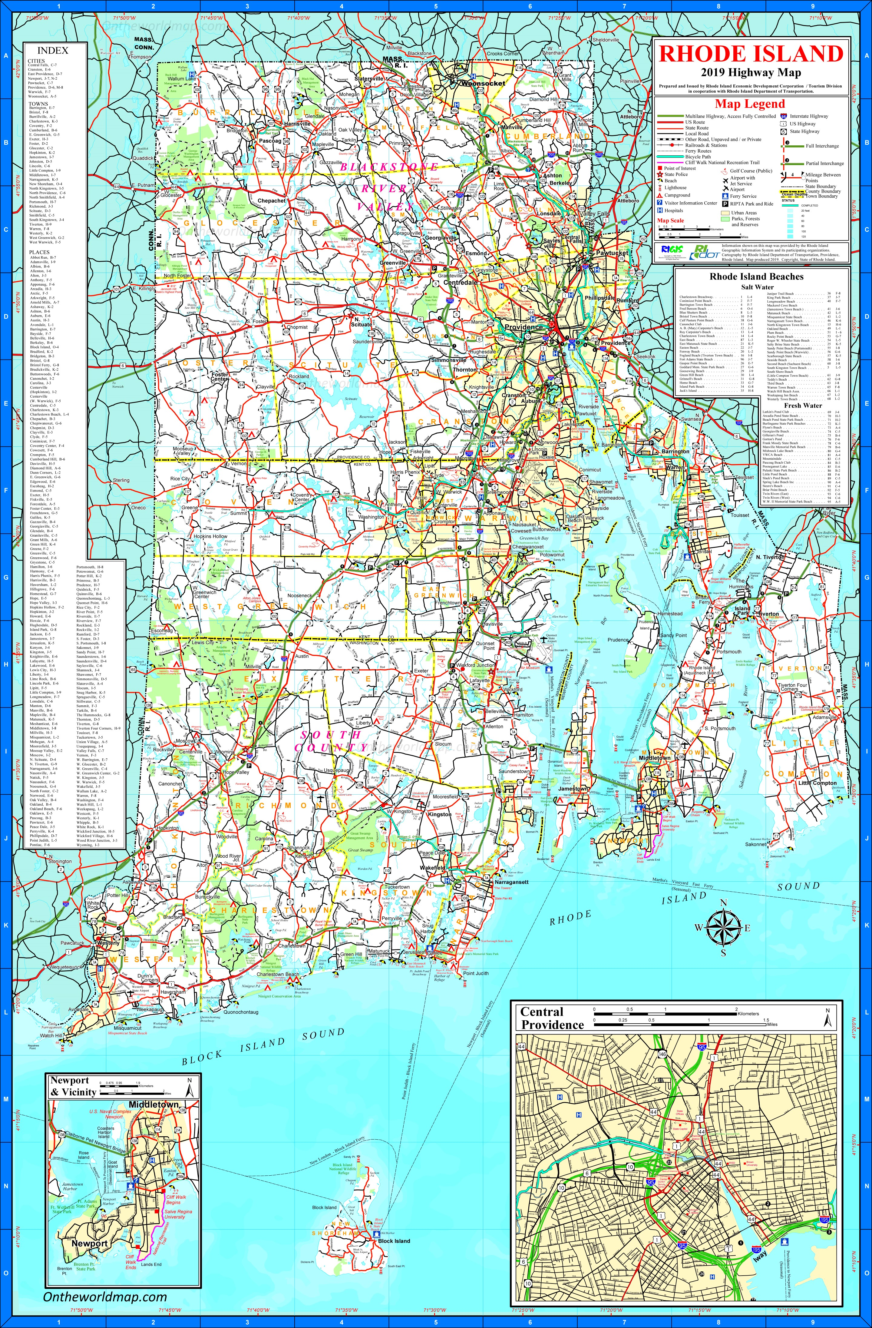 Map Of Rhode Island Large detailed tourist map of Rhode Island with cities and towns Map Of Rhode Island