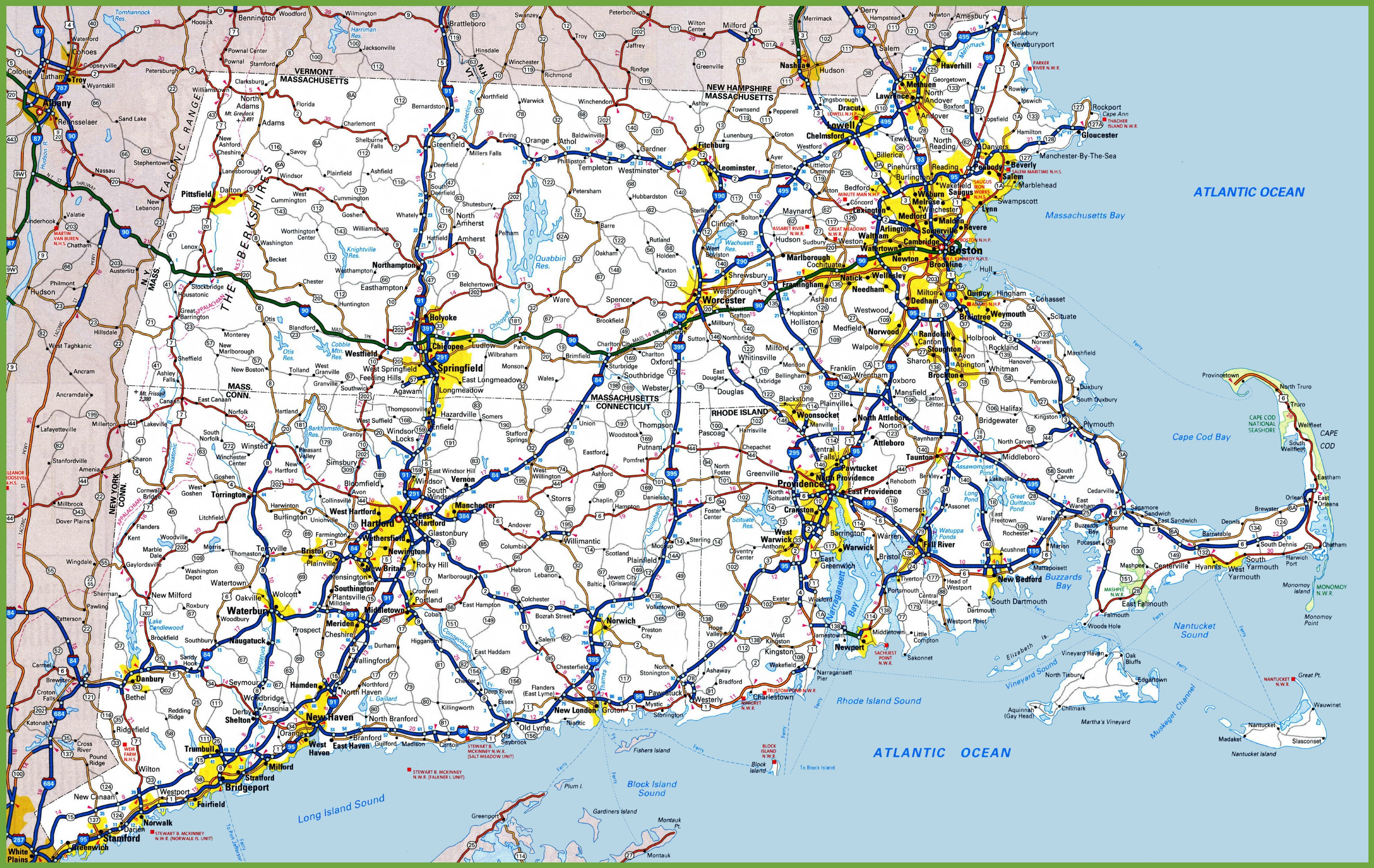 Map Of Rhode Island Massachusetts And Connecticut - Road island usa map