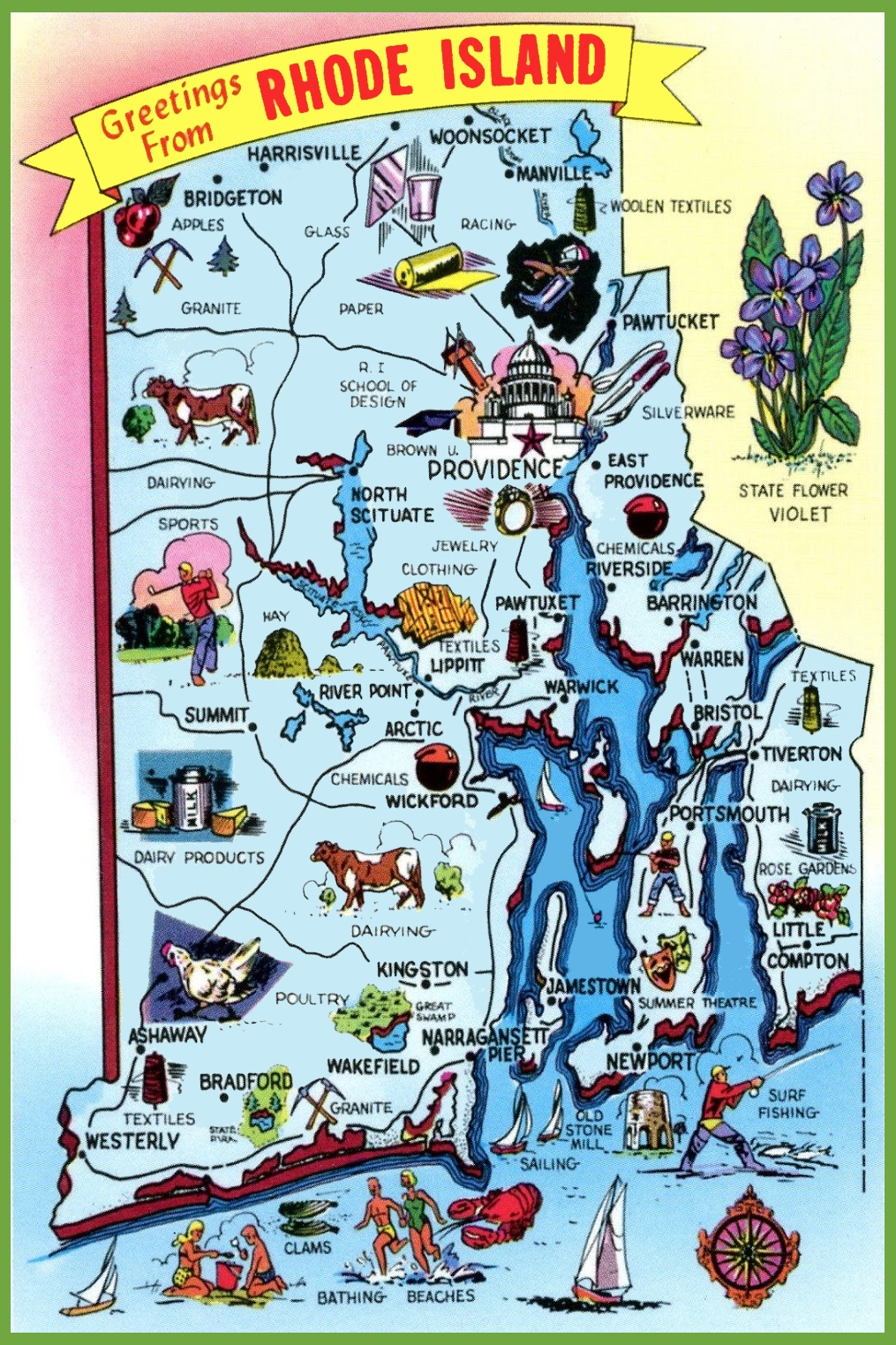 Pictorial Travel Map Of Rhode Island - Usa map rhode island