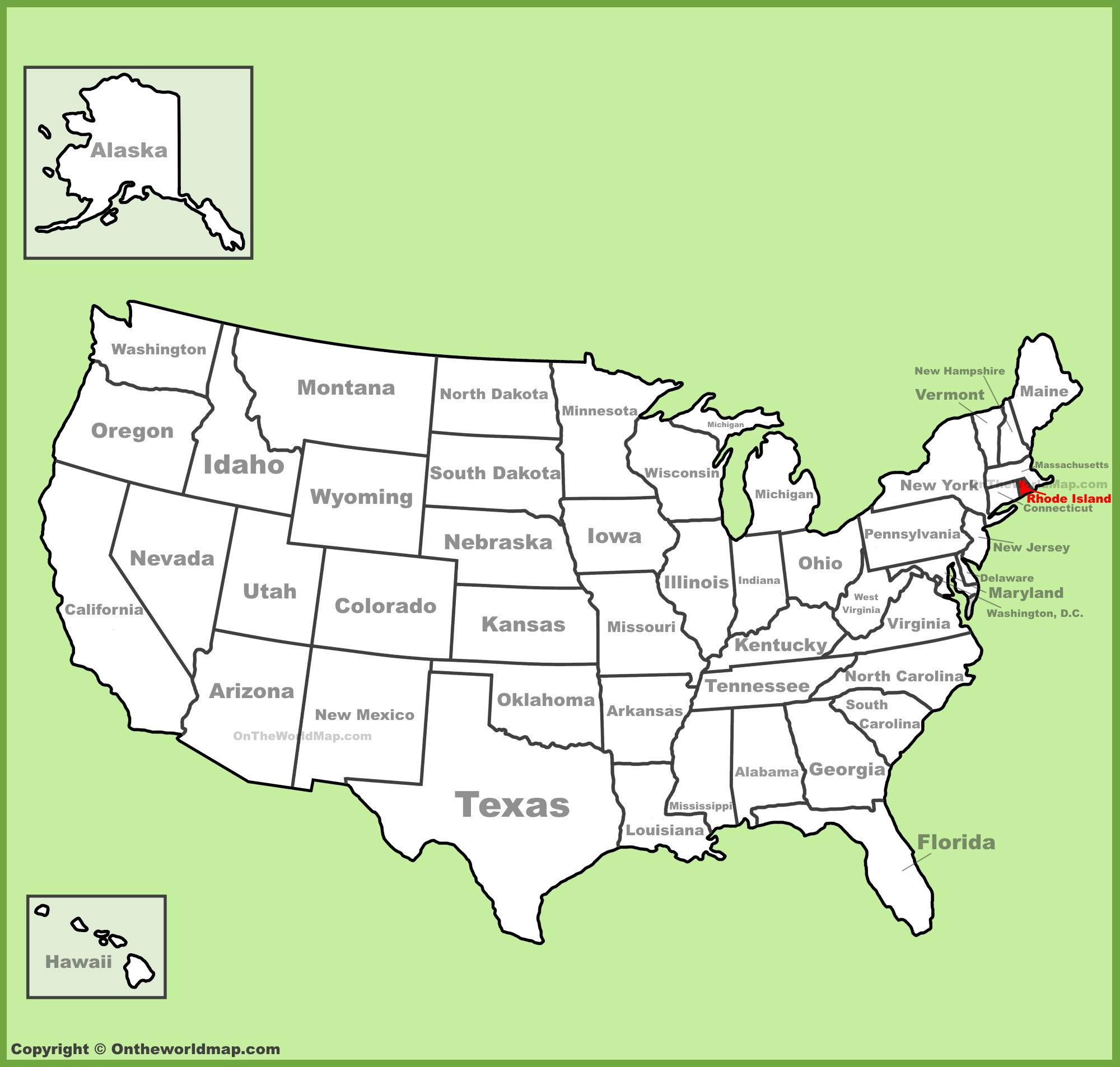 Rhode Island Location On The US Map - Us state map large