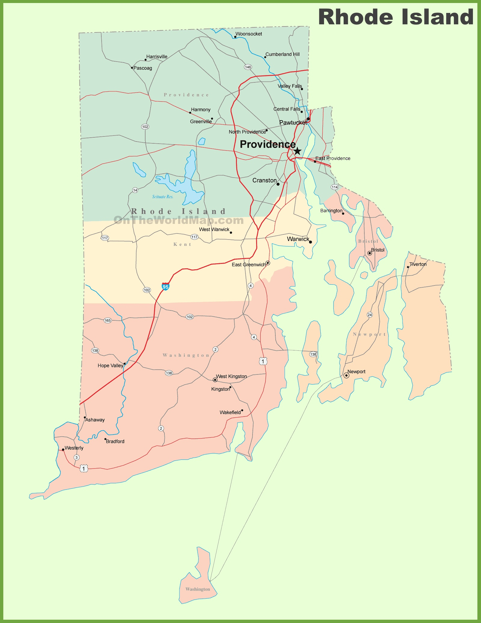 Map Of Rhode Island Road map of Rhode Island with cities Map Of Rhode Island