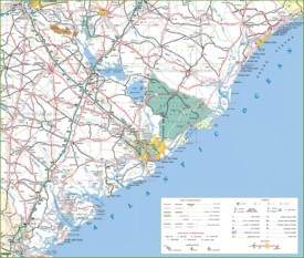 Map of South Carolina cost with beaches