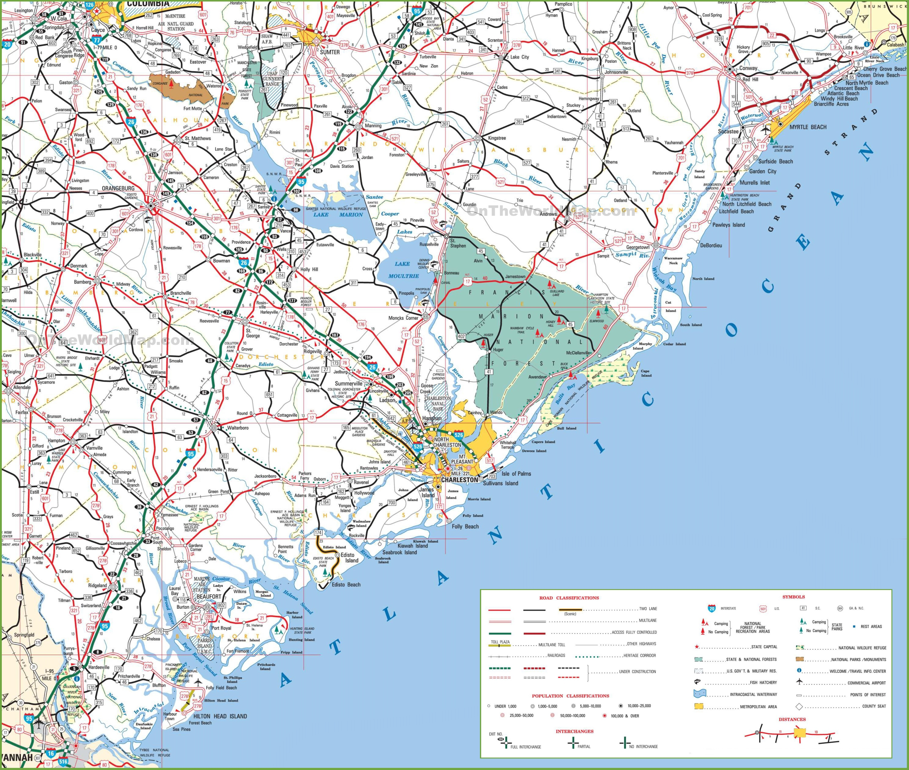Map Of South Carolina Cost With Beaches - Map to south carolina