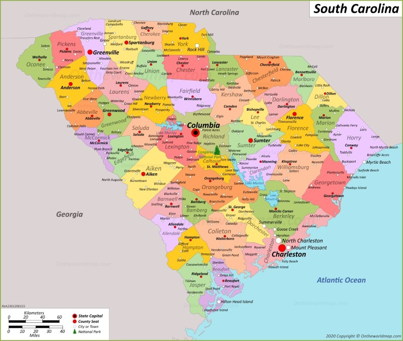 Map Of Georgia And South Carolina Coast.South Carolina State Maps Usa Maps Of South Carolina Sc