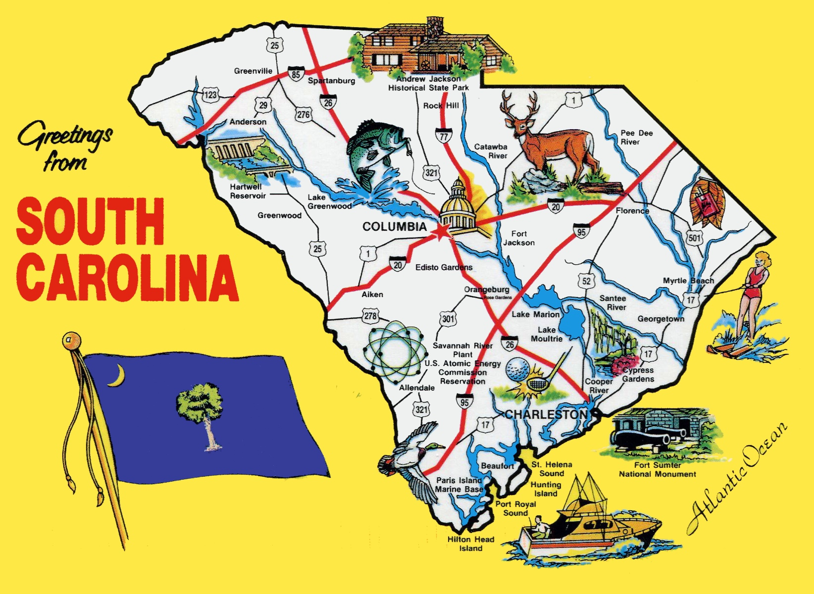 Pictorial travel map of South Carolina