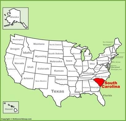 South Carolina Location Map