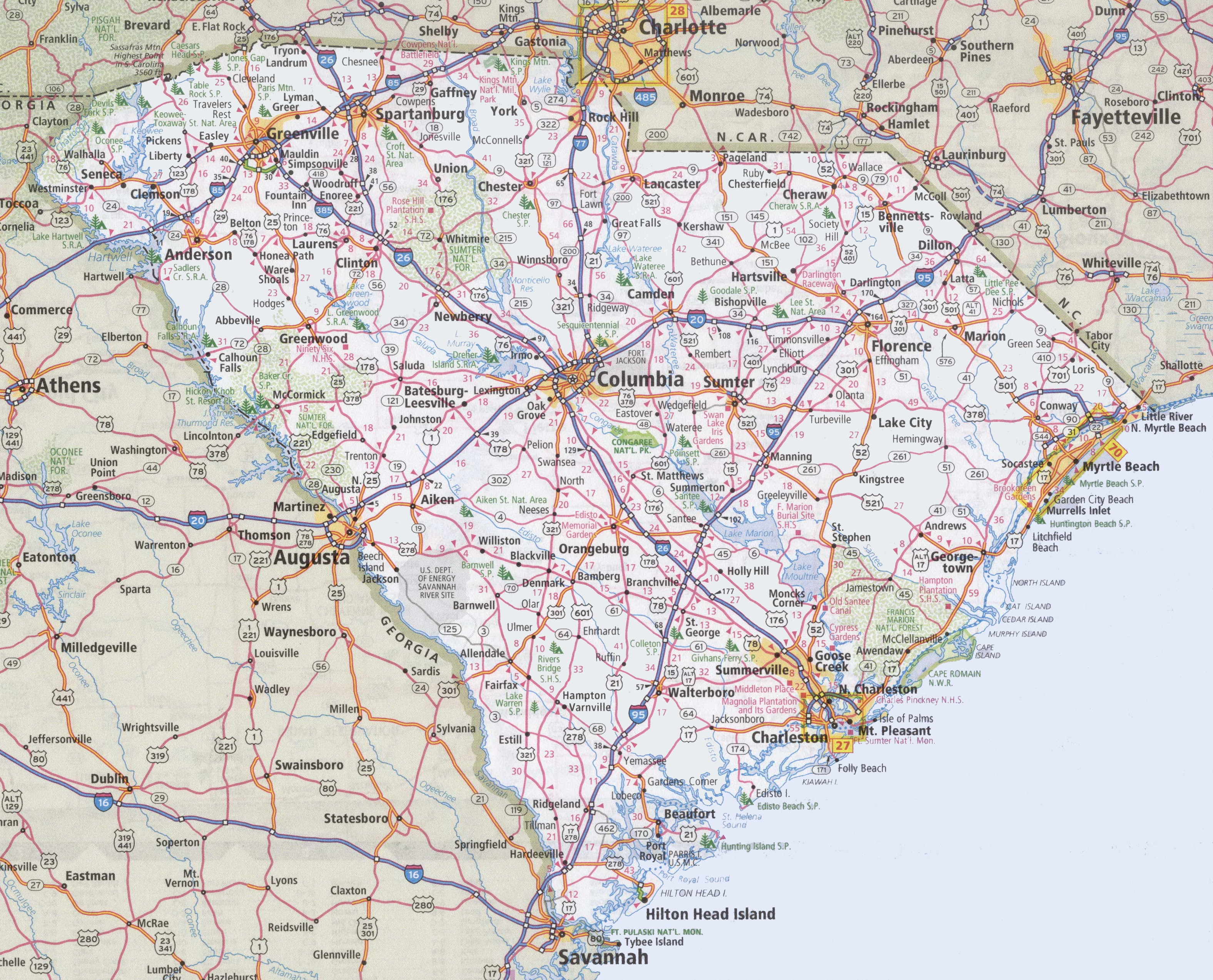South Carolina Road Map - Map to south carolina
