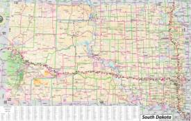 Large detailed tourist map of South Dakota with cities, towns and attractions