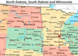 Map of North Dakota, South Dakota and Minnesota