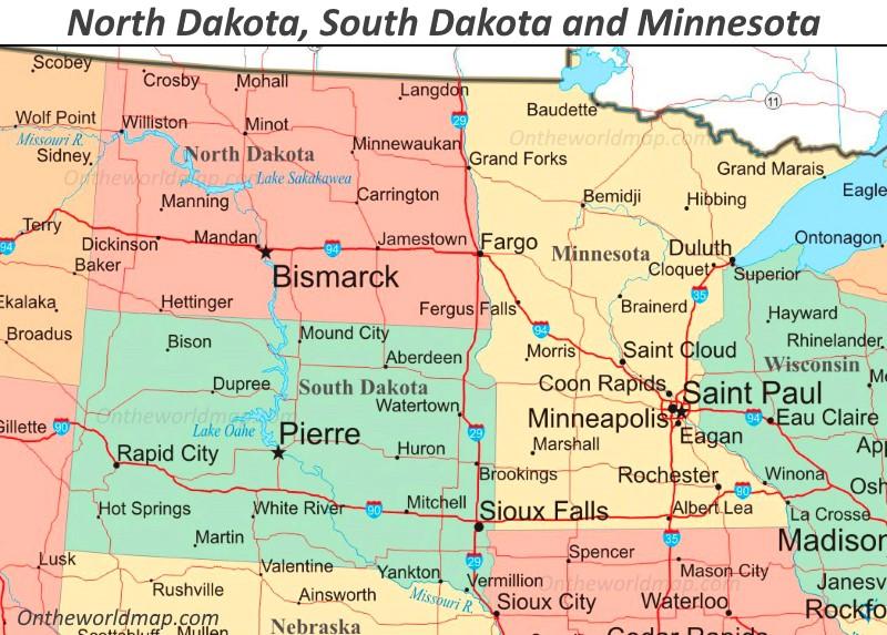 north and south dakota map Map Of North Dakota South Dakota And Minnesota north and south dakota map
