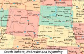 Map of South Dakota, Nebraska and Wyoming