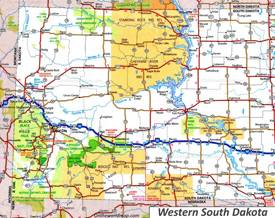 Map of Western South Dakota