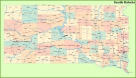 Road map of South Dakota with cities