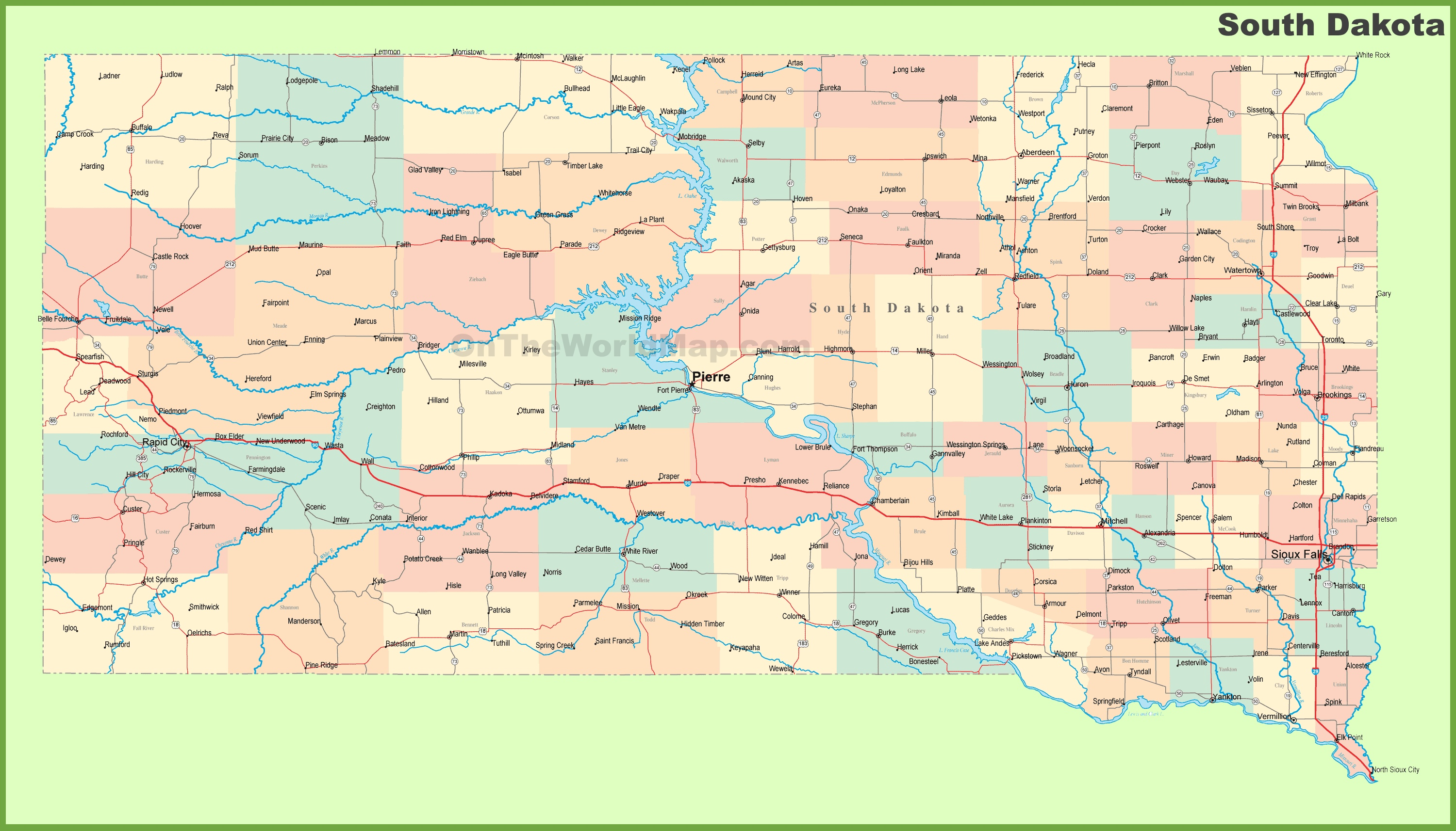 Map Of South Dakota Cities Road map of South Dakota with cities