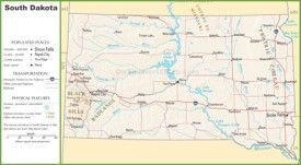 South Dakota highway map
