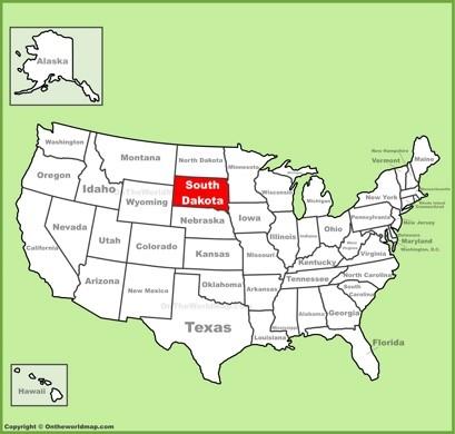 South Dakota Location Map