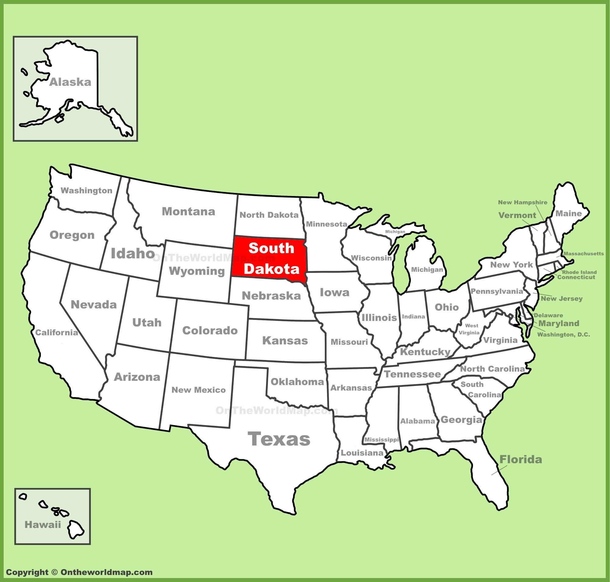 South Dakota location on the US Map