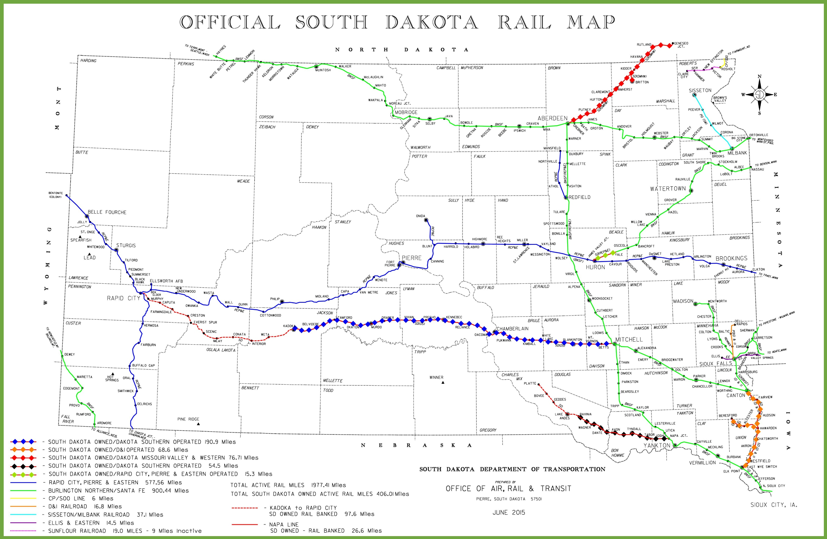 South Dakota Rail Map - South dakota map