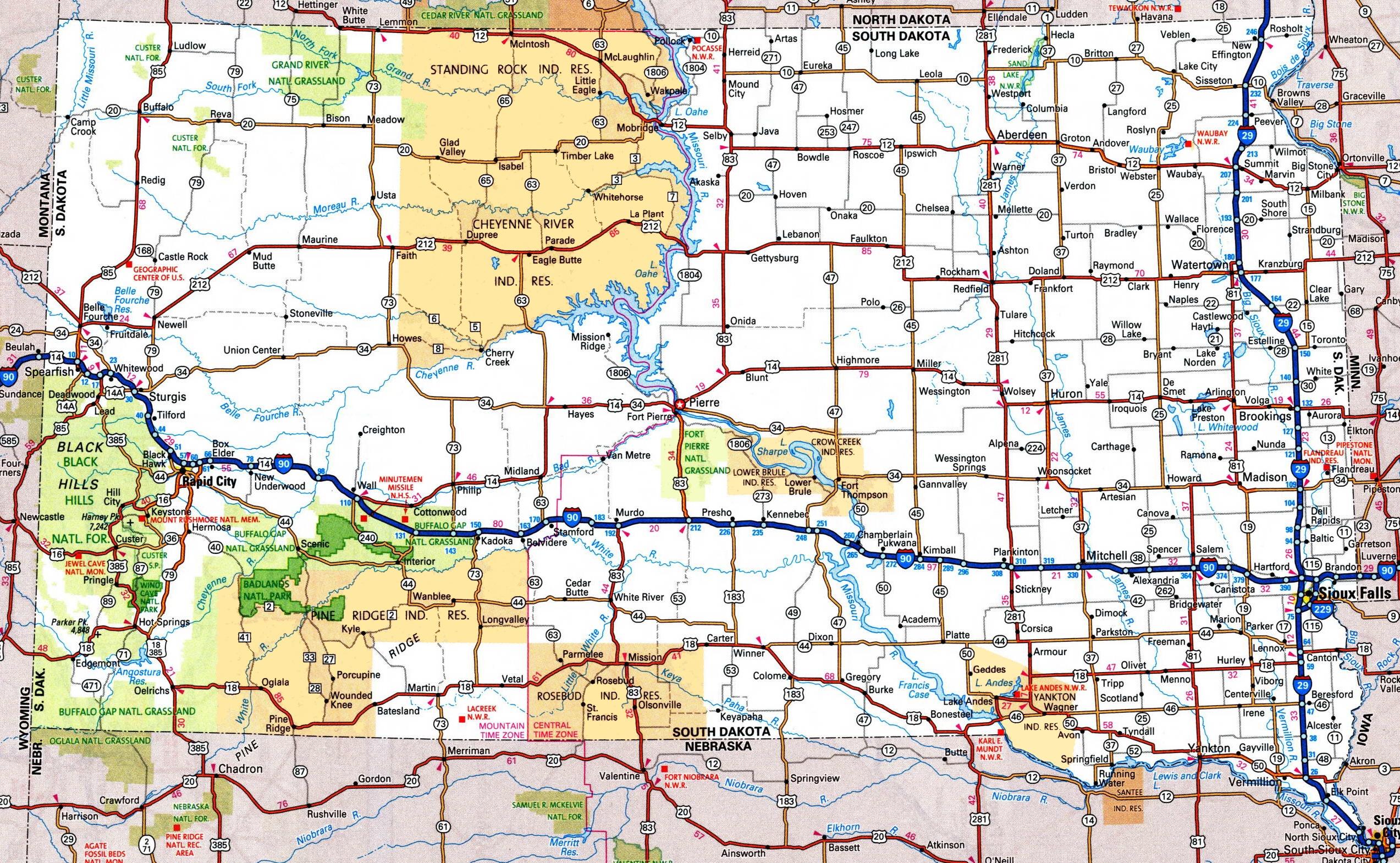 Map Of South Dakota South Dakota road map Map Of South Dakota