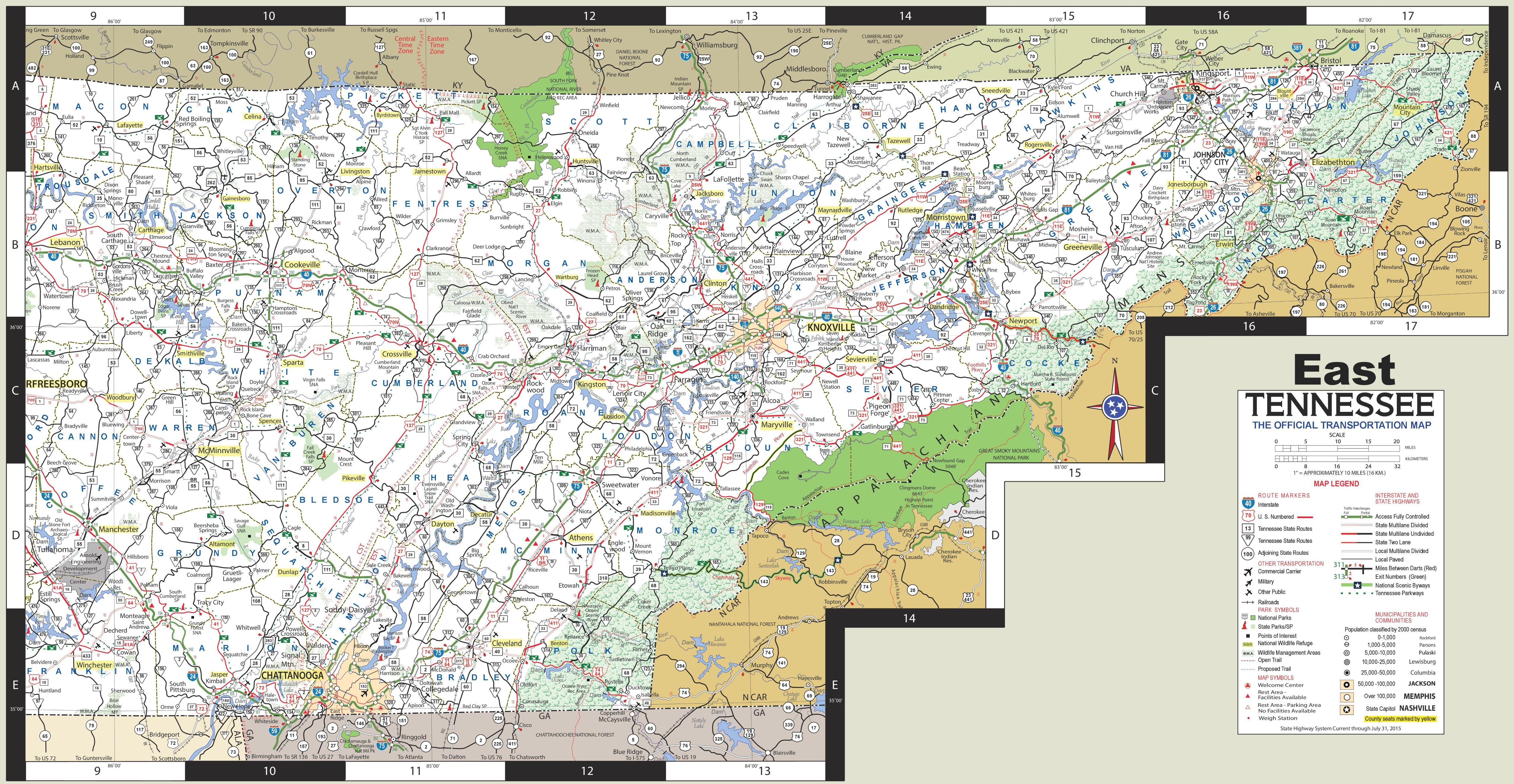 East Tennessee Map Map of East Tennessee East Tennessee Map
