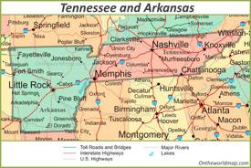 Map Tennessee and Arkansas
