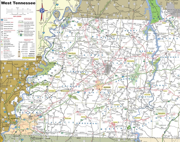 Map Of West Tennessee
