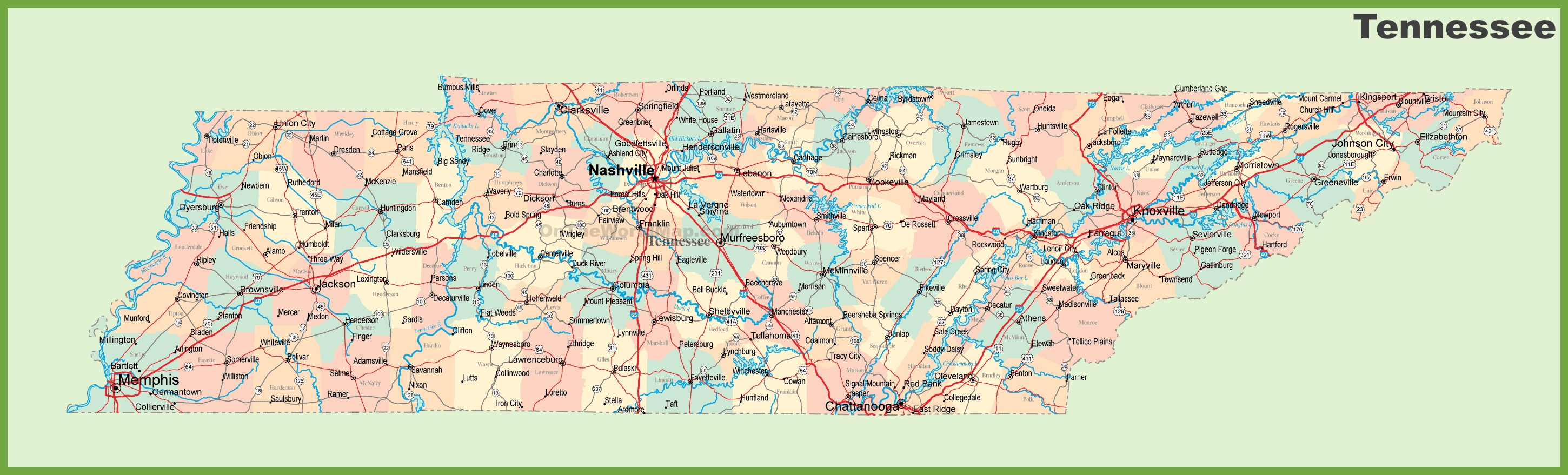 Road map of Tennessee with cities