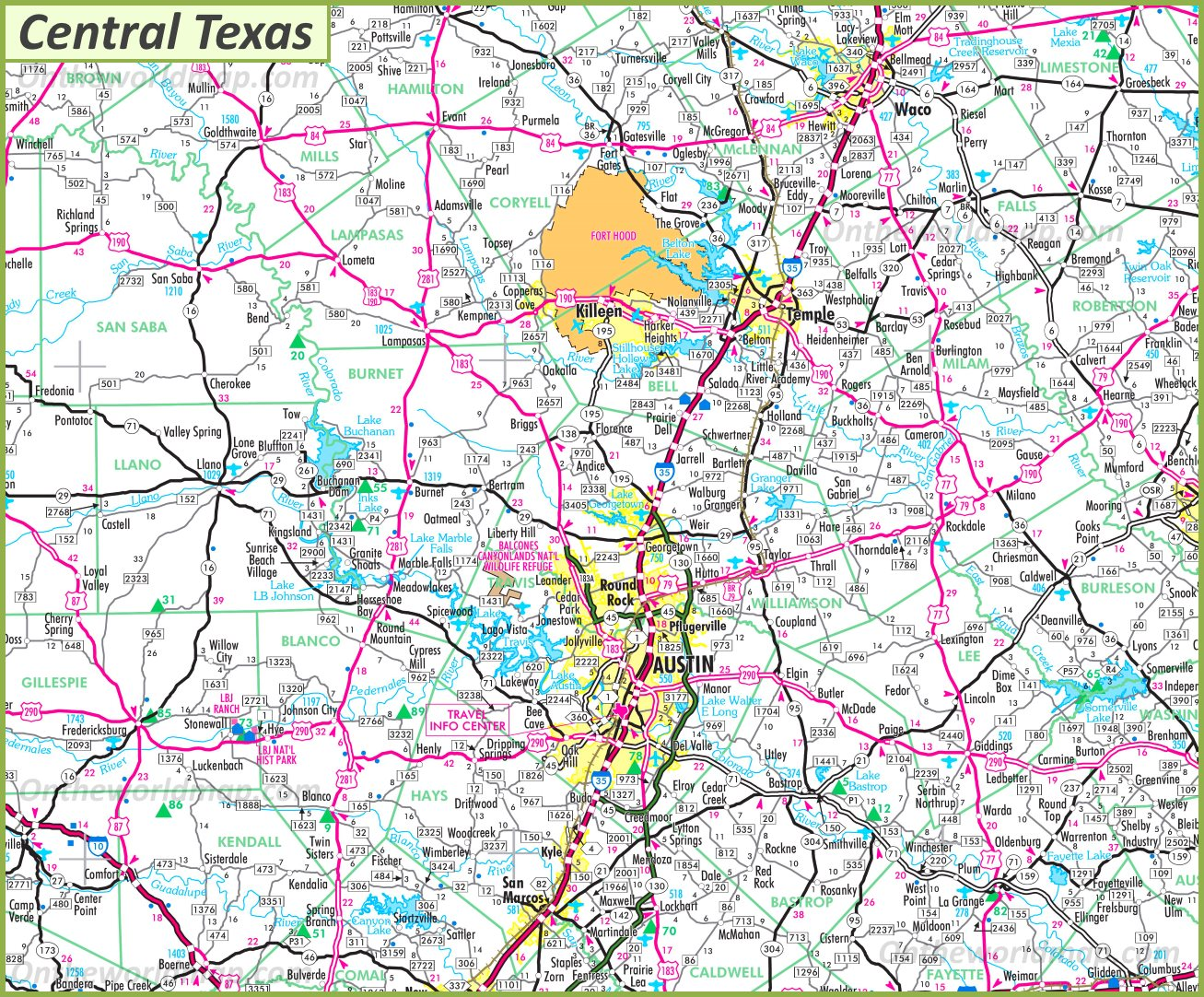 Map Of Central Texas Towns Map of Central Texas
