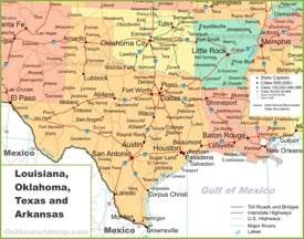 Map of Louisiana, Oklahoma, Texas and Arkansas