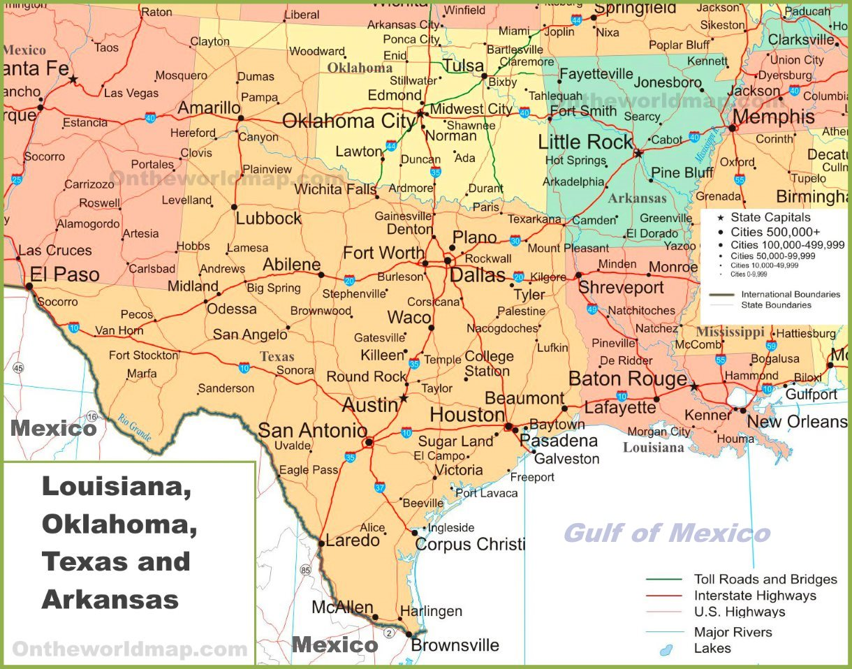 Oklahoma Texas Map With Cities Map of Louisiana, Oklahoma, Texas and Arkansas