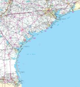 Map of Texas coast
