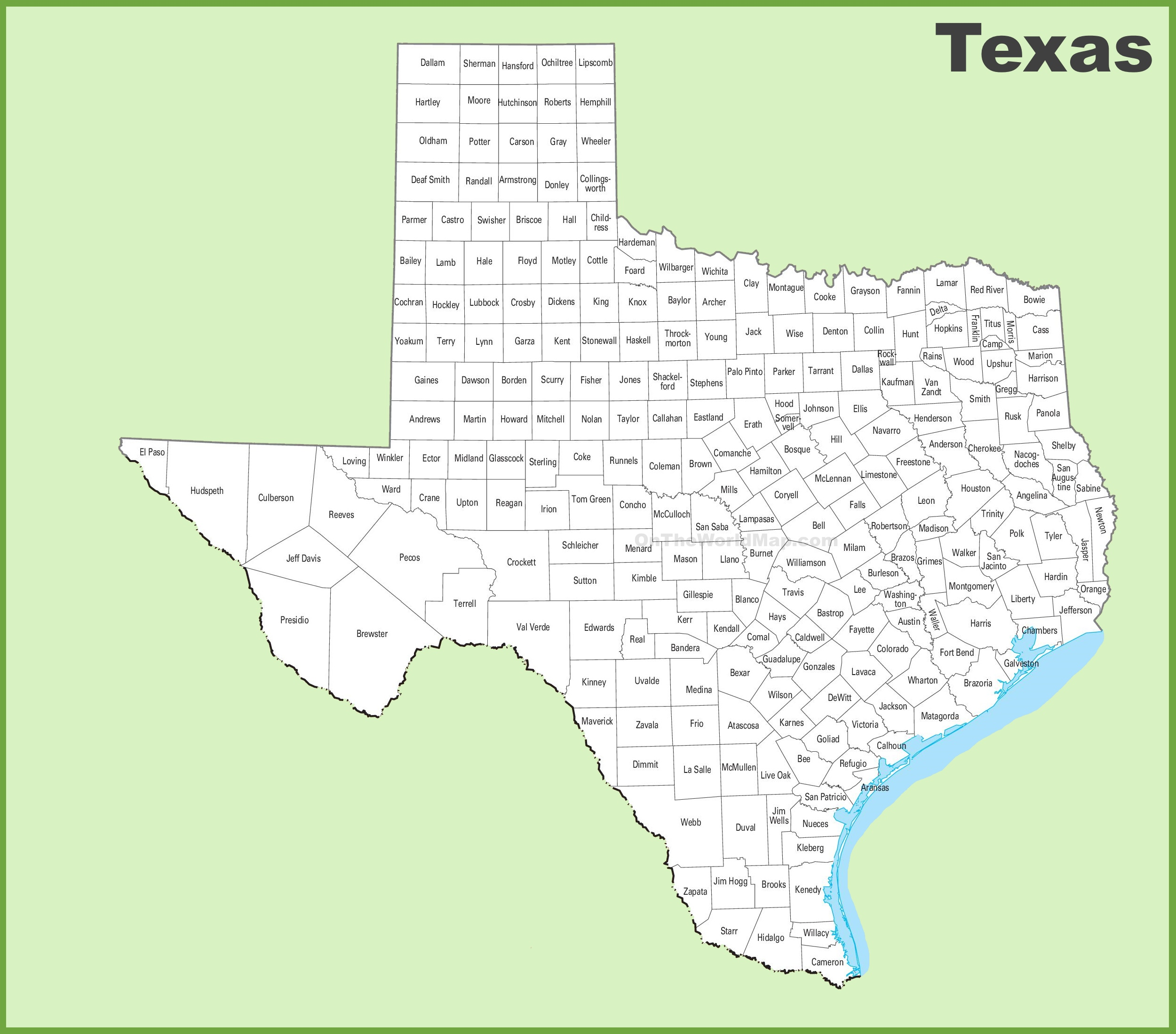 Texas County Map - Texas map with cities and counties