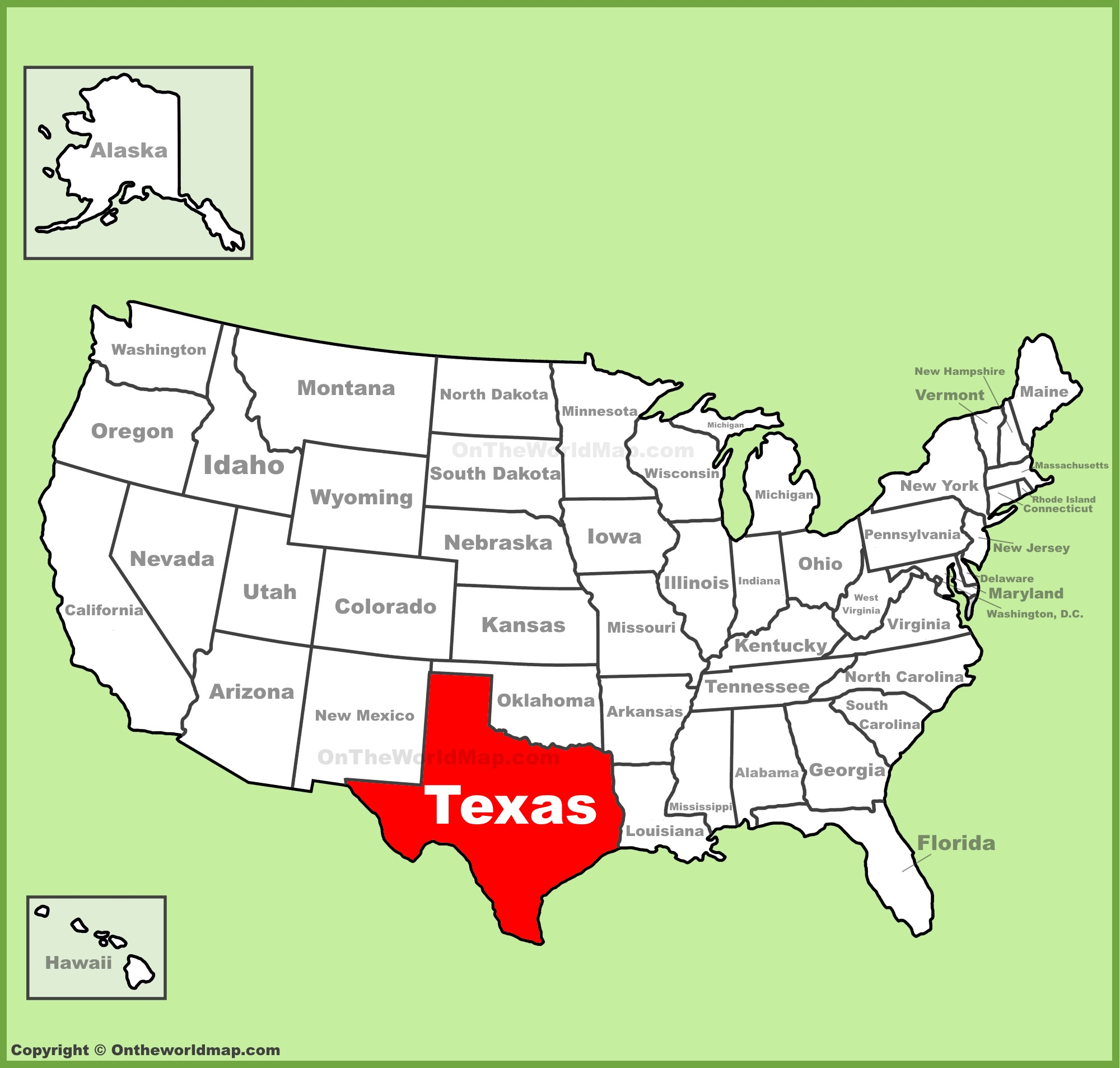 Texas location on the U.S. Map