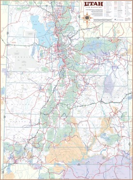 Large detailed tourist map of Utah with cities and towns
