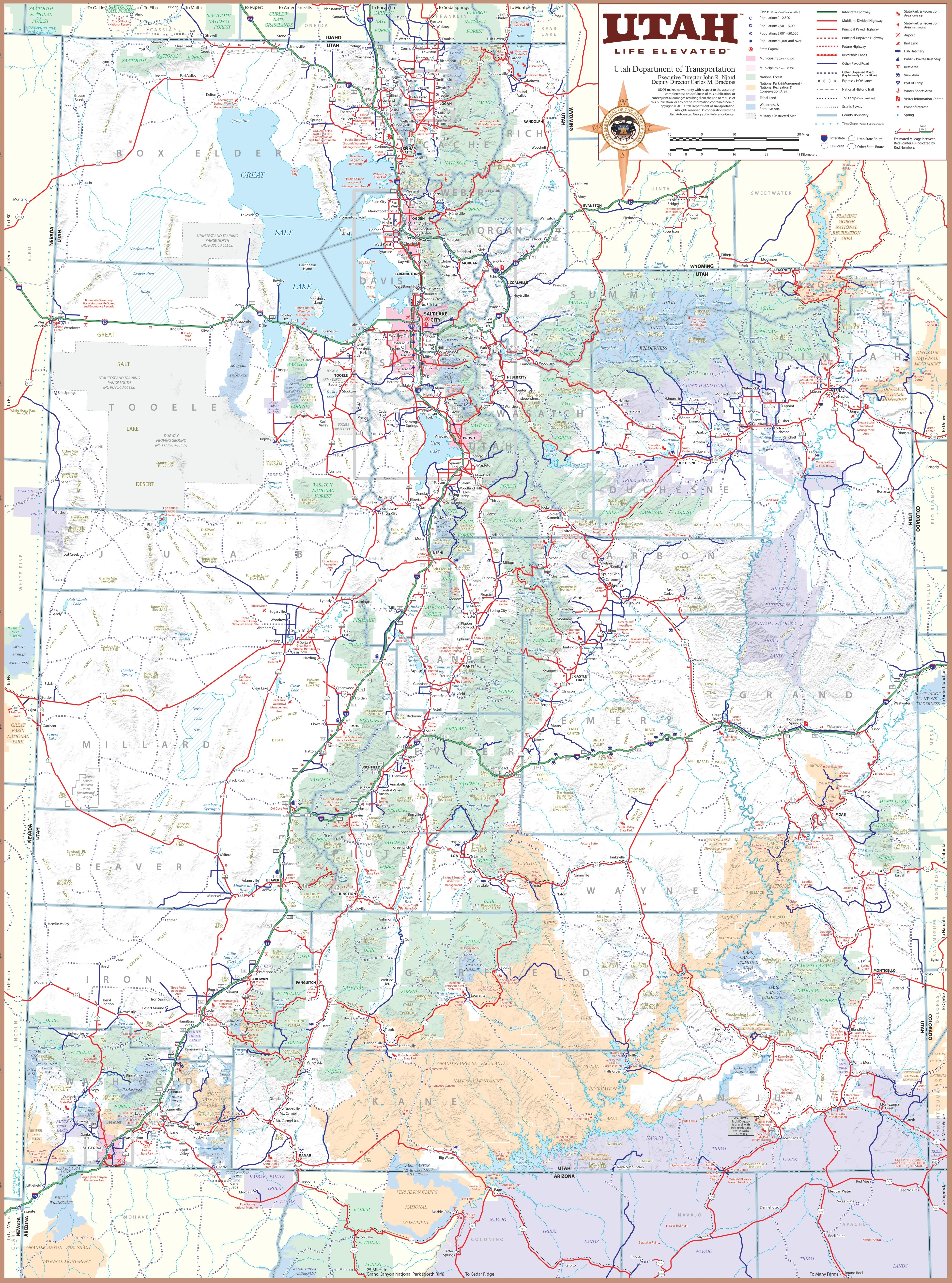 Utah Map With Cities Large detailed tourist map of Utah with cities and towns