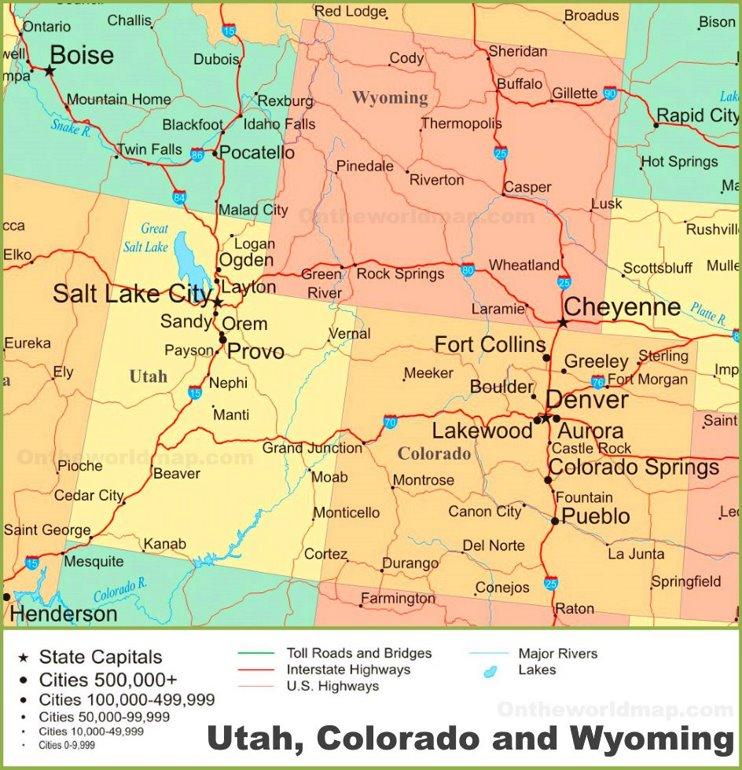 Map of Utah, Colorado and Wyoming