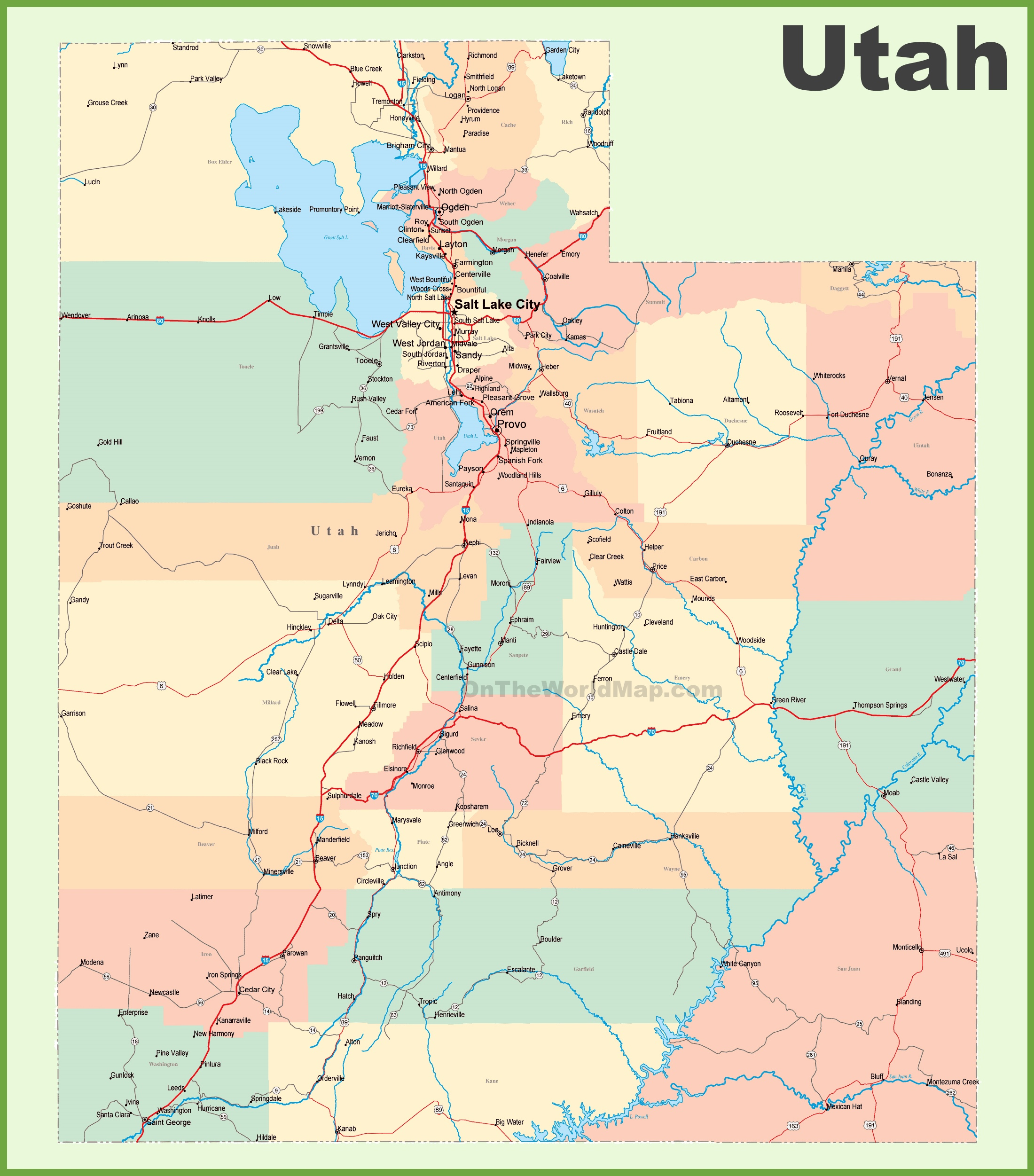 road map of utah with cities -